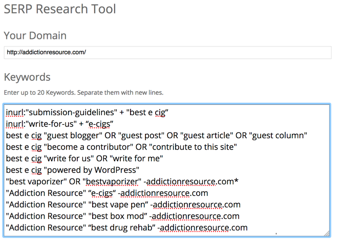 Advanced Google Search Operators in LinkResearchTools