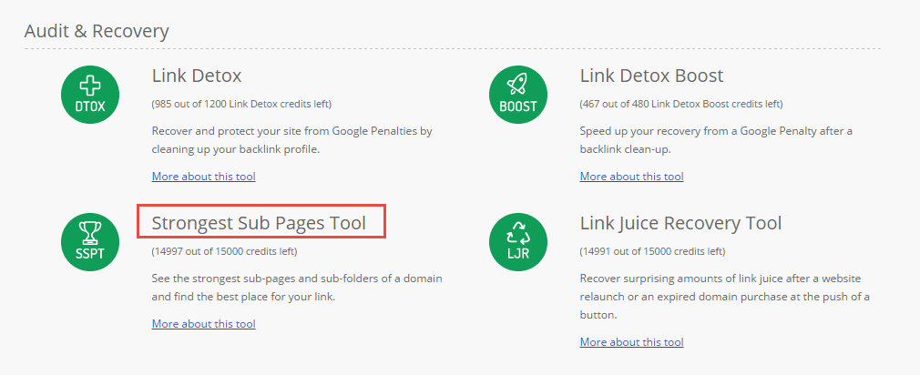 Strongest Subpages Tool (SSPT)