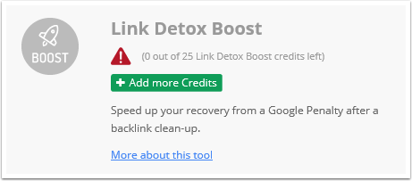 How many credits does it cost to run Link Detox Boost(R)?