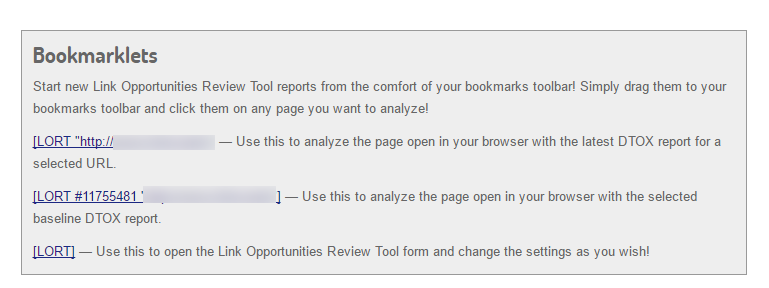 Use bookmarklets for the Link Simulator (LORT)