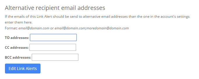 Link Alerts add more email recipients