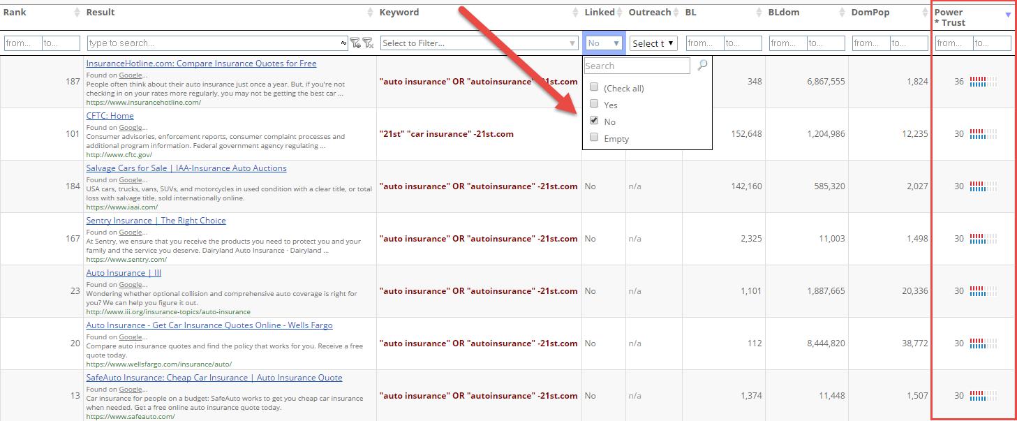 select the best mentions to turn into backlinks SERP tool