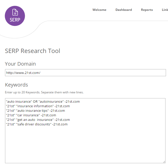 Find mentions with the SERP tool in LinkResearchTools