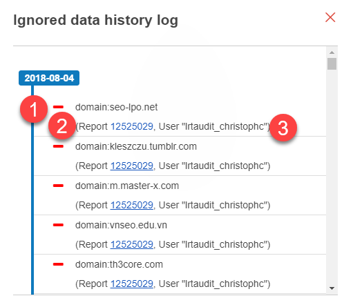 history log entries from disavow actions
