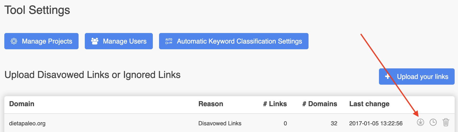 Export Disavow File to Google Search Console