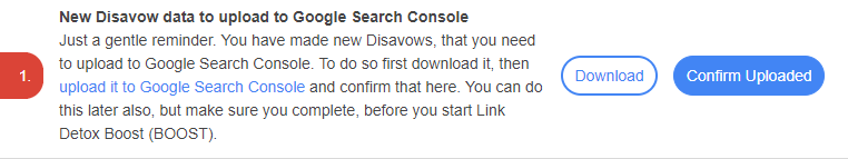 link issue reminding about new disavow data to be uploaded to Google Search Console
