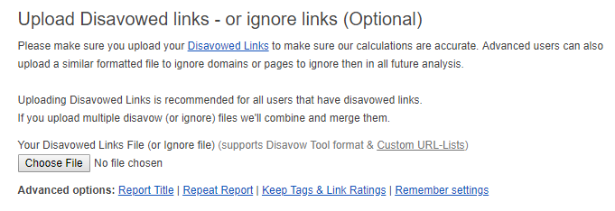 How to upload a Disavow File to Link Detox