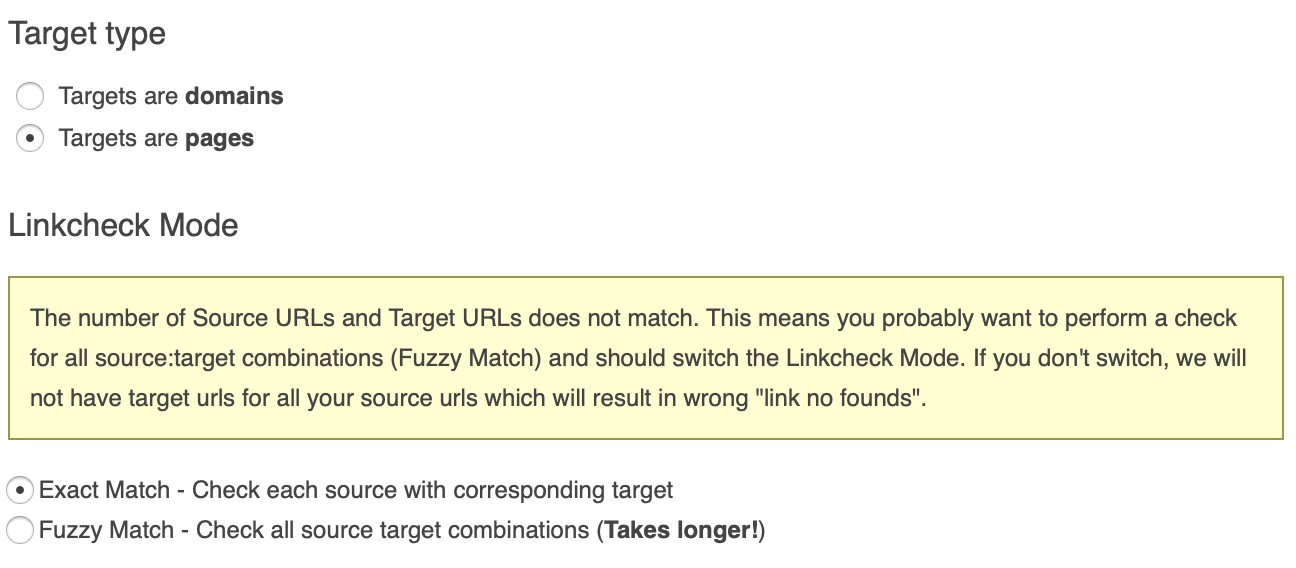Selecting Targets are pages and Exact Match error-LCT