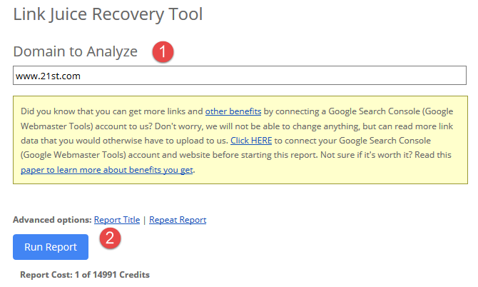 Link Juice Recovery Tool (LJR)