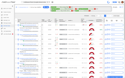 Filter Link Data by 100s of SEO metrics