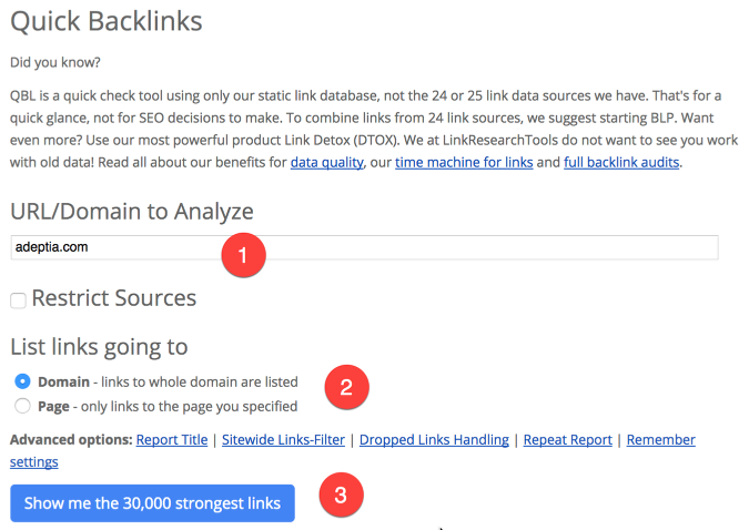 Quick Backlink Checker (QBL)