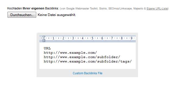 Welches Dateiformat müssen meine eigenen Backlink- und Disavow-Dateien haben?