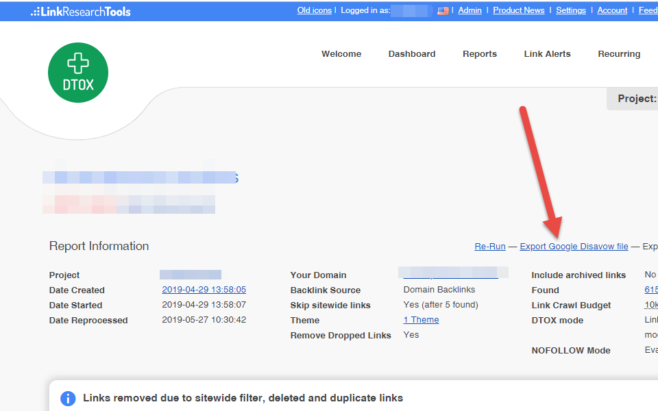 Export your disavowed links/domains