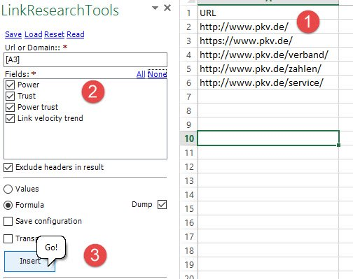 LinkResearchTools Integration in SEOTools for Excel