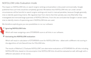 NoFollow Links Evaluation Mode in Link Detox