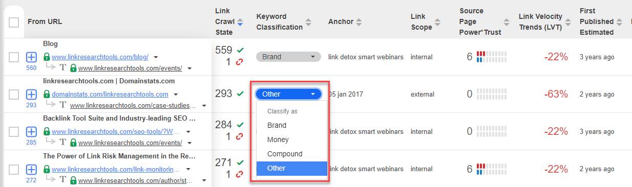 Classify keywords on link-level