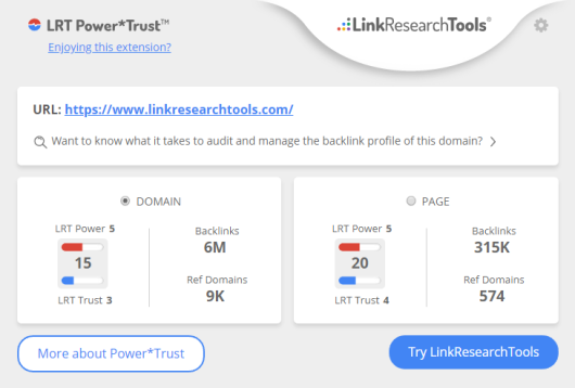 Link Power and Link Trust to spot High Quality Backlinks