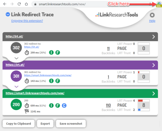 Link Redirect Trace browser extension in Chrome and Firefox browser