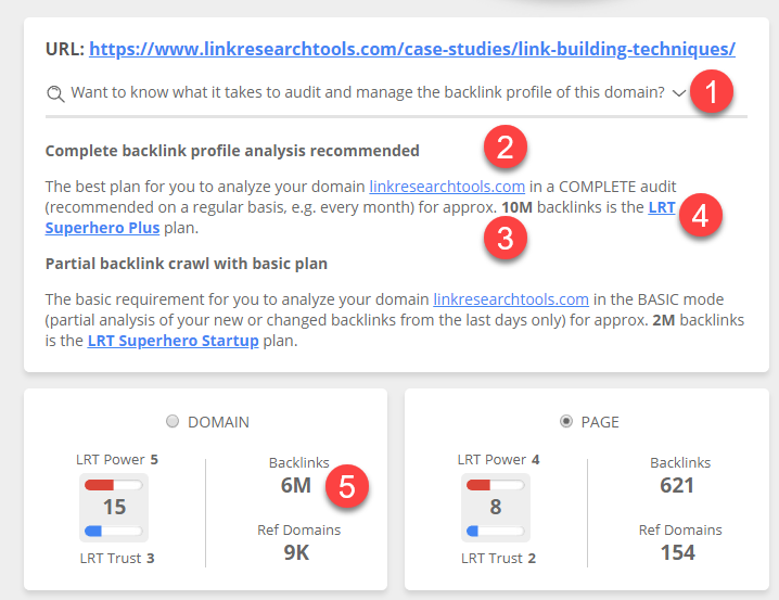 Real Time Link Audit Quote and Suggested Plan for LinkResearchTool