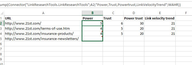 SeoTools for Excel with LRT SEO Metrics