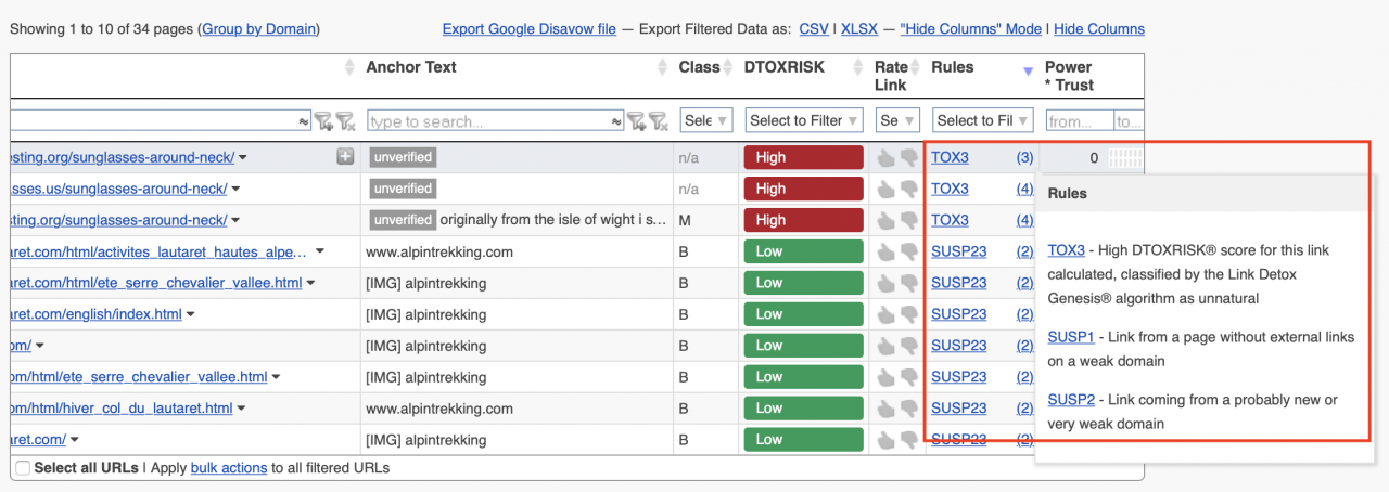Link Detox Classic results table showing hover over extra information