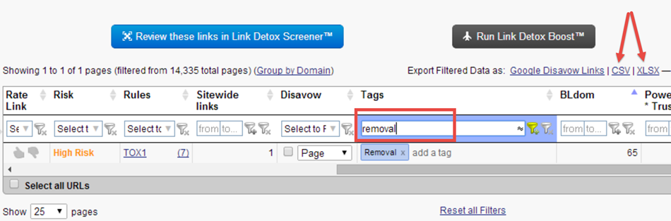 link detox filtering by tags
