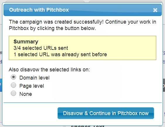 urls sent to pitchbox
