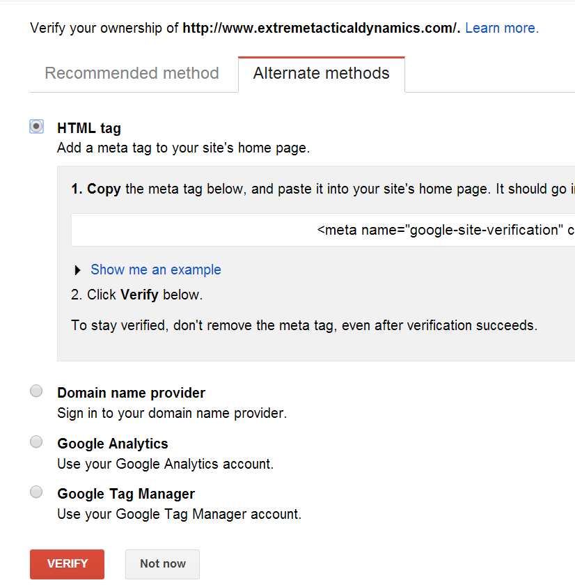 Google Search Console alternate methods