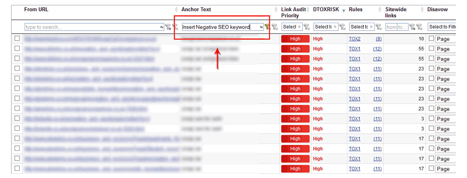 Insert negative SEO keyword