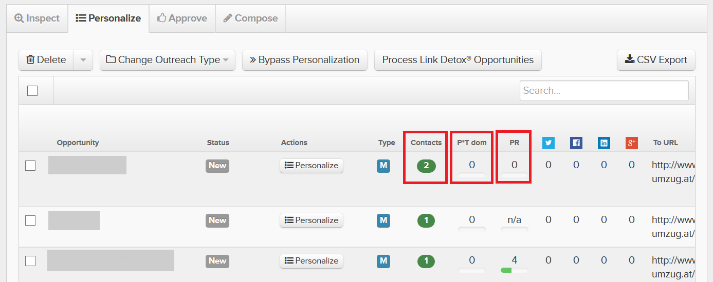 Pitchbox Personalize info tab