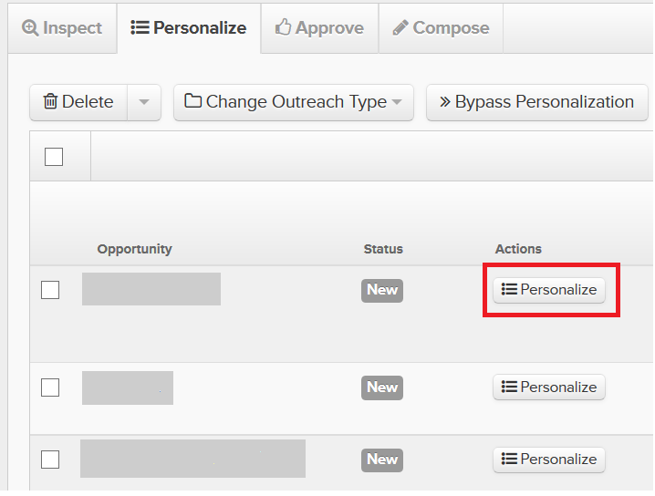Pitchbox Actions Personalize