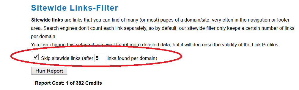 Sitewide Links Filter